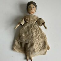 Exceptionally Rare Early Antique Grodnertal  Wooden Peg Doll in Original Clothes