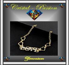 Bracelet femme  zirconium love 4 Coeurs doré or fin mariage fiançaille  D17