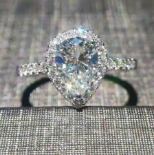 2.0 CT Womens Size 10 Zircon Engagement Ring Fake Diamond Dainty Wedding Silver
