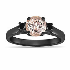 Pink Morganite & Enhanced Black Diamonds Three Stone Engagement Ring 14K Gold