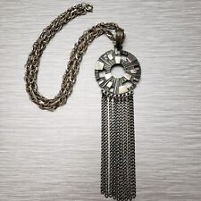 Vintage Sarah Coventry Pewter Architectural Pop Art Dangling Tassel Necklace