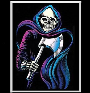 """1978 BLACKLIGHT """"DEATH WATCH"""" VINTAGE GRIM REAPER WITH AX POSTER PINUP"""
