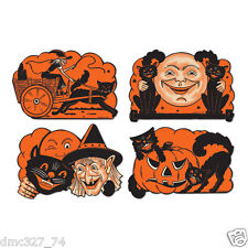 4 retro halloween decorations die cut cutouts vintage beistle 1950 reproduction