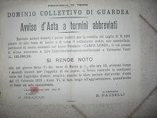 I807-GUARDEA AVVISO D'ASTA TAGLIO ALBERI 1928