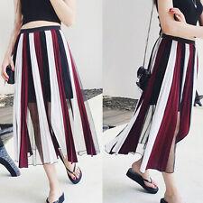 Calf Length Chiffon Pleated, Kilt Regular Skirts for Women