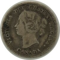 1890 (H)  5 CENTS CANADA - SILVER - CIRCULATED - QUEEN VICTORIA - KM#2  (090720)