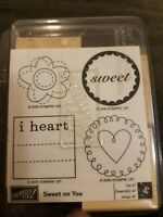 Stampin Up SWEET ON YOU 4 Piece Set Wood Mounted Rubber Stamps  2006 Retired NEW