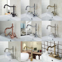 Spout Dual Handles Kitchen/Bathroom Basin Sink Brass Faucet Swivel  Mixer Tap