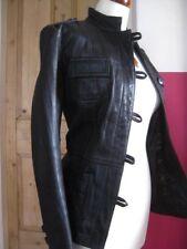 size UK 14 12 Ladies NEXT brown real leather JACKET COAT biker military safari