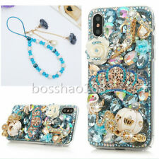 Bling Diamonds Soft phone back Cases Skin & wrist Crystals flowers strap For HTC