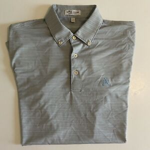 Peter Millar Summer Comfort Mens Small Gray/Blue S/S Golf Polo ACC