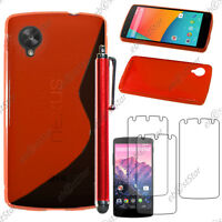 Housse Etui Coque Silicone S-line Rouge LG Nexus 5 E980 + Stylet + 3 Film écran
