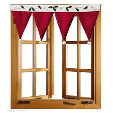 Door Window Drape Panel Christmas Santa Tree Red Cotton Curtain Home Decor