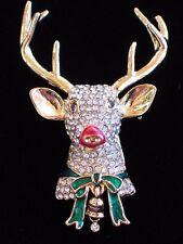 NIB NAPIER GOLD BELL ANTLERS RUDOLPH REINDEER HEAD PIN BROOCH JEWELRY 3D DANGLE
