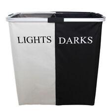 Black+White Folding Double Hamper Laundry Basket Clothes Aluminum