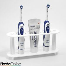 Electric Toothbrush Holder Toothpaste Holder 2x Toothbrush Stand White