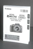 Canon EOS Rebel T6 / 1300D Camera Instruction Book / Manual / User Guide