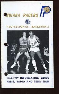 1968-1969 ABA Basketball Indiana Pacers Press Radio TV Media Guide NRMT