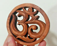 "Small 4"" Om Syllable, Ohm - Aum, Hard Wood Made in Bali, Spiritual Consciousness"