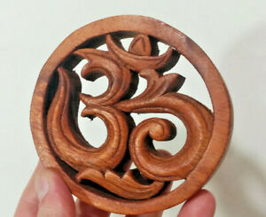 """Small 4"""" Om Syllable, Ohm - Aum, Hard Wood Made in Bali, Spiritual Consciousness"""