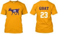 Lebron James 23 GOAT Los Angeles - Men Women Youth Tee T Shirt, Gold XS-3XL