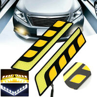 1Pc Led Cob Fog Lamp Car Daytime Running Drl Waterproof With Turn Signal FE