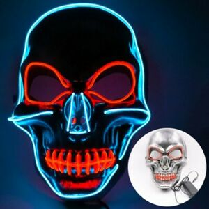 Halloween LED Glow Mask 3 Modes EL Wire The Purge Light Up Party Costume Decor