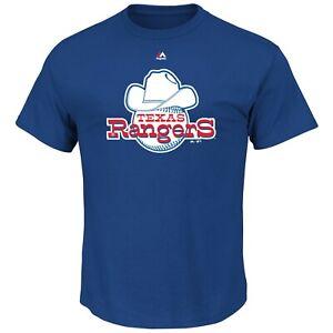 New Texas Rangers Baseball Old School logo Cooperstown T-Shirt Men's Big & Tall