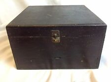 Vintage Box Joint Hinged Wood Box Storage Recipe File Tool Craft Sewing
