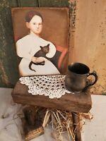 PRIMITIVE VICTORIAN VINTAGE FOLK ART STYLE GIRL WITH BLACK CAT PORTRAIT CANVAS