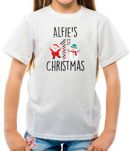 Personalised / Custom 1st First Christmas Xmas Kids T-Shirt brother sister big