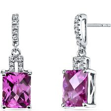14K White Gold Created Pink Sapphire Earrings Radiant 6.00 ct