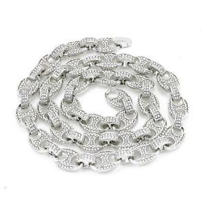 Mens Iced Mariner Link Choker Silver Gold Finish (16-30'') Hip Hop 10mm Necklace