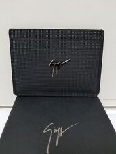 New Giuseppe Zanotti Albert black calfskin men cardholder with studs