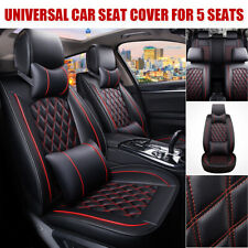 Front & Rear 5 Seats Car SUV Seat Cover Cushion Full Set PU Leather + Pillow AU