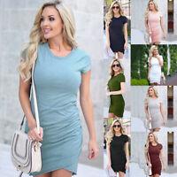 Women Summer Ruched Bodycon T Shirt Short Mini Dress Casual Beach Party Sundress