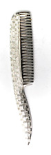 """Sterling Silver Simmons Small Mustache Hair Comb 2-1/2"""" x 12mm Checkered Finish"""