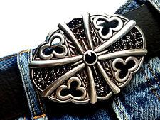 Croix ornement strass Argent Noir Boucle de ceinture changement Boucle Buckle 4cm