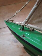 More details for vintage metal sail pond boat toy - original cotton sails.