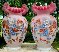 Antique IMPORTANT Bristol Glass Vases Painted Flowers Butterfly PINK Ruffles BIG