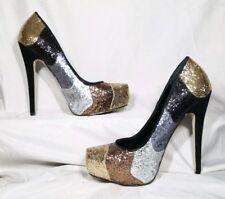 Truth Or Dare By Madonna Glitter High Heels Black Silver Bronze Gold Sz 9 EUC