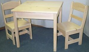 CHILD'S TABLE SQUARE TOP AND 2 CHAIRS ROUND BACK HAND MADE functional Boys & Gir
