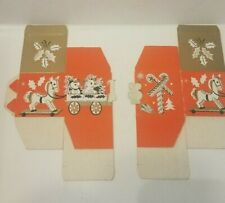 Vintage Pair Of Christmas Candy Cookie Gift Boxes 1950's Glitter Train Holly Toy