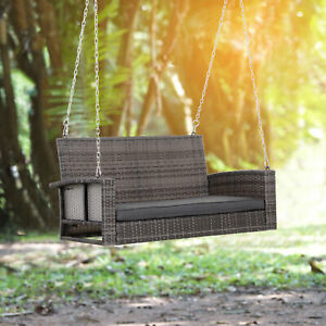 2-Person Outdoor Wicker Hanging Porch Swing Bench with Cushion