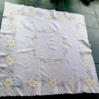 BEAUTIFUL VINTAGE HAND EMBROIDERED CREAM LINEN APPLIQUÉ TABLECLOTH 51X52 INCHES