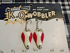 Vintage Nos Acme Go Deep K.O. Wooblers On The Original Card! Classic Red & White