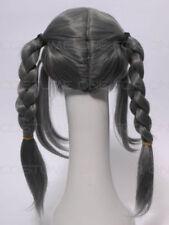 Perruques et toupets cheveux synthétiques gris longs pour femme