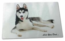 Black Husky 'Love You Dad' Extra Large Toughened Glass Cutting, Chop, DAD-52GCBL
