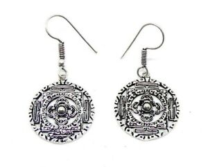 Tribal Design Silver Earrings, Ethnic Bohemian Hippy, Made in India