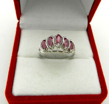 Beautiful 14k White Gold Marquise Cut 5 stone Ruby Cluster Ring